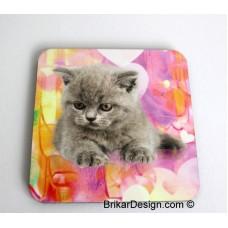 Sous-verre carré chaton