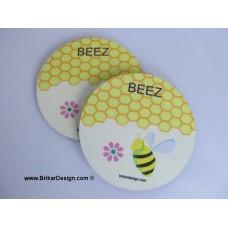 Sous-verre rond abeille
