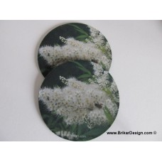 Sous-verre fleur blanche