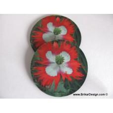 Sous-verre fleur rouge